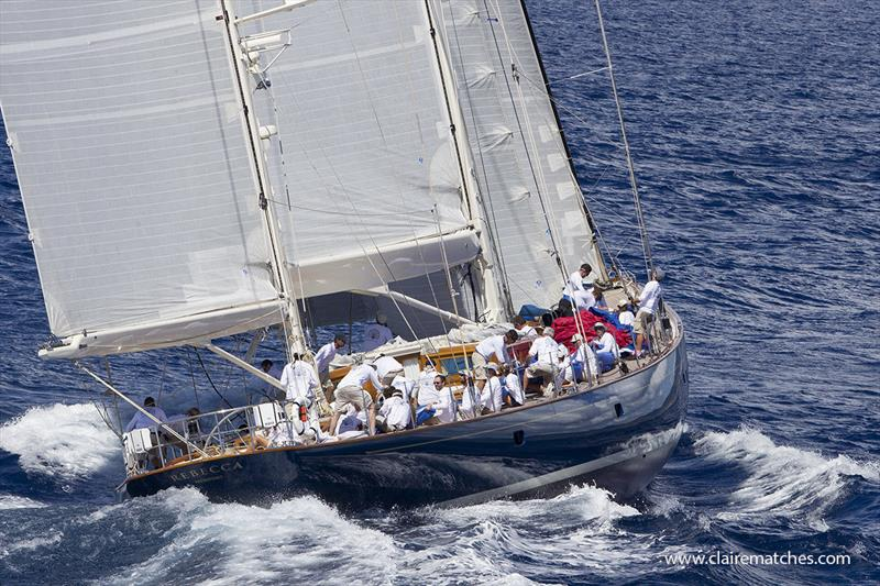 The 140ft (42m) German Frers ketch Rebecca - 2019 Superyacht Challenge Antigua - photo © Claire Matches / www.clairematches.com