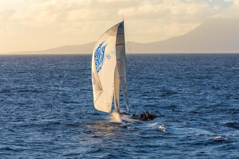 Lady Mariposa approaches Redonda at sunset on the fourth day of the 2019 RORC Caribbean 600 - photo © RORC / Arthur Daniel