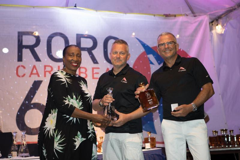 Shirlene Nibbs, Consultant to the Ministry of Tourism, presented Jeremi Jablonski's Hanse 430 Avanti (USA) with prizes for winning the Two Handed division - 2019 RORC Caribbean 600 - photo © Arthur Daniel