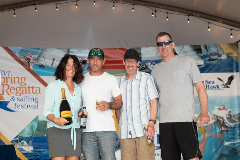 Miles Sutherland-Pilch, Nanny Cay presents prizes to some of the Fujin crew - Round Tortola Race 2019 - photo © Alastair Abrehart