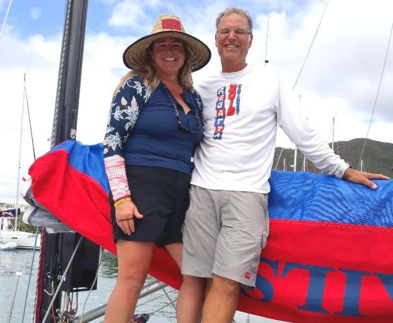Fulfilling a retirement dream - Dave Garman with girlfriend Kristen on ID35 Such Fast - BVI Spring Regatta 2019 - photo © Michelle Slade / BVISR