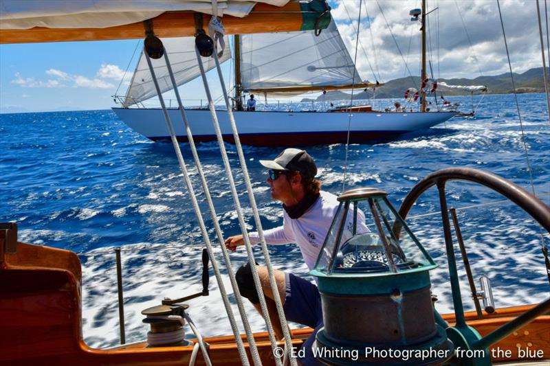 1957 S&S 52' yawl Mah Jong , skippered by Alex Goldhill - Antigua Classic Yacht Regatta 2019 © ED Whiting Photographer from the blue