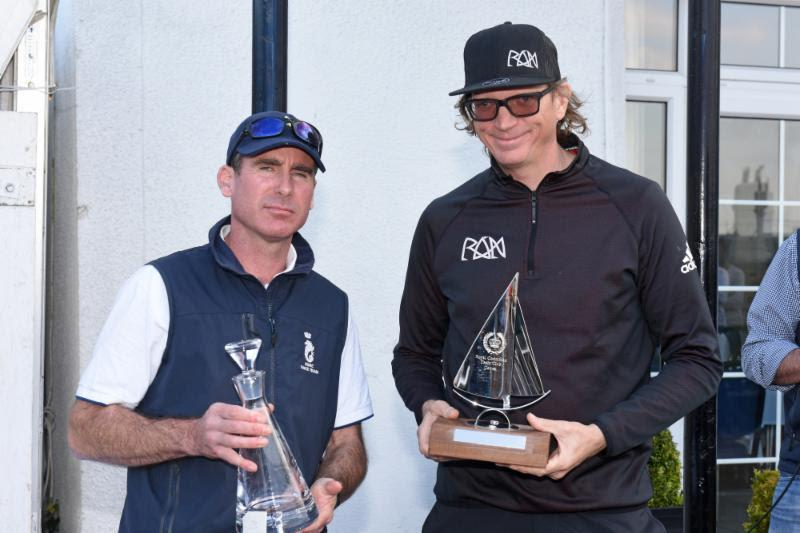 Niklas Zennstrom collects Ran's trophy from RORC Deputy Racing Manager Tim Thubron on day 3 of the RORC Vice Admiral's Cup 2019 photo copyright Rick Tomlinson / www.rick-tomlinson.com taken at Royal Ocean Racing Club and featuring the IRC class
