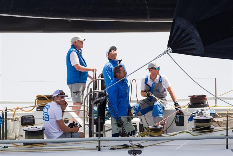 On board Rambler 88, owner George David is surrounded by America's Cup legends such as Dean Barker and Simon Daubney. - 2019 Rolex Giraglia - photo © IMA / Studio Borlenghi