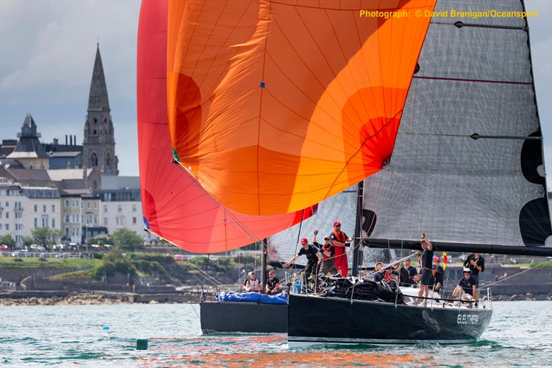 Eleuthera and Jump Juice racing in Scotman's Bay on the opening day of 500  boat Volvo Dun Laoghaire Regatta photo copyright David Branigan / www.oceansport.ie taken at Dun Laoghaire Motor Yacht Club and featuring the IRC class