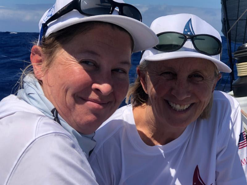 Hats off and a big shout out to all the women sailing in the 2019 50th anniversary Transpac. Cheers to Merlin's women crew onboard Kat Robinson (left) and Adrienne Cahalan (right) - Transpac 50 - photo © Transpacific Yacht Club