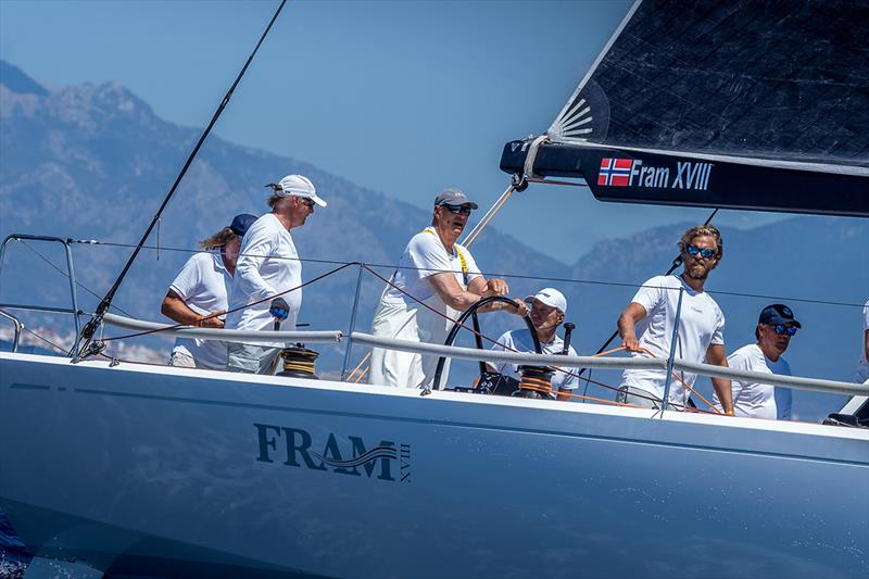 King Harald V of Norway, at the helm of Fram XVIII - 38 Copa del Rey MAPFRE - photo © Nico Martínez / Copa del Rey MAPFRE