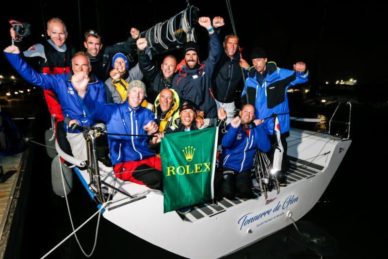The crew on Tonnerre de Glen celebrate dockside in Plymouth Yacht Haven - Rolex Fastnet Race 2019 - photo © Paul Wyeth / RORC