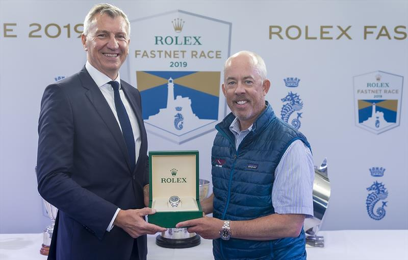 Prizegiving Wizard, Sail no: USA70000, Class: IRC Zero, Owner: David and Peter Askew, Sailed by: Charlie Enright - Rolex Fastnet Race 2019 - photo © Carlo Borlenghi
