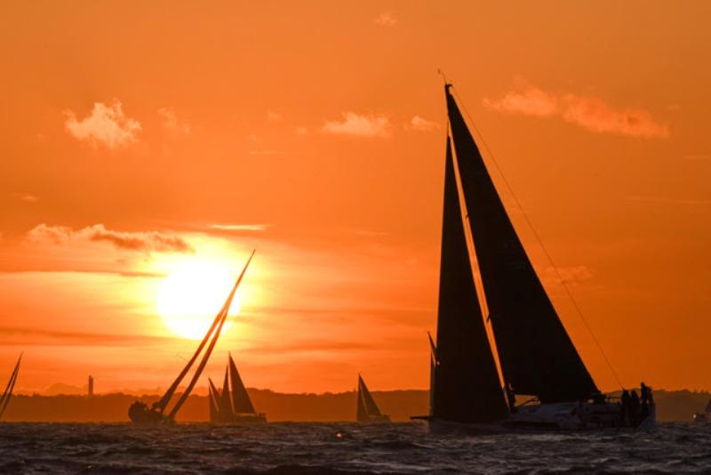 64 entries in the RORC Cherbourg Race enjoyed a beautiful sunset. photo copyright Rick Tomlinson / RORC taken at Royal Ocean Racing Club and featuring the IRC class