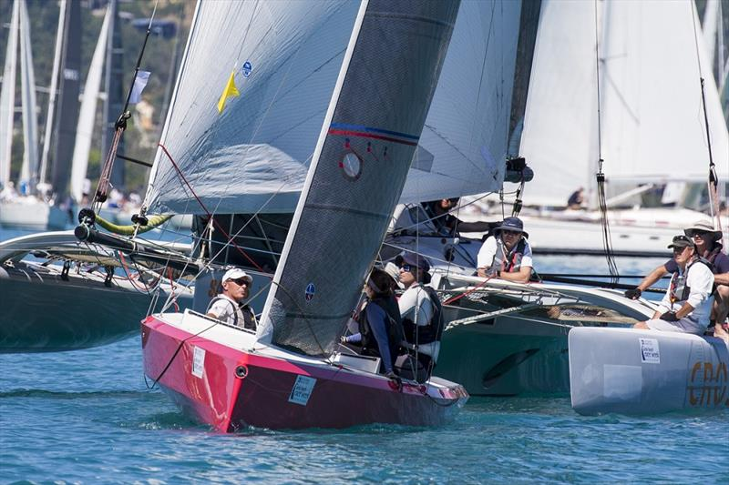 Multis mix it with monohulls in last year's mass start - Airlie Beach Race Week photo copyright Andrea Francolini taken at Whitsunday Sailing Club and featuring the IRC class