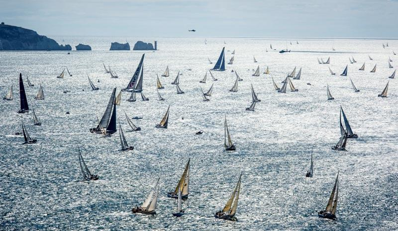 Always a spectacular sight as hundreds of yachts of all sizes head out of the Solent after the start in Cowes, UK photo copyright Kurt Arrigo / Rolex taken at Royal Ocean Racing Club and featuring the IRC class