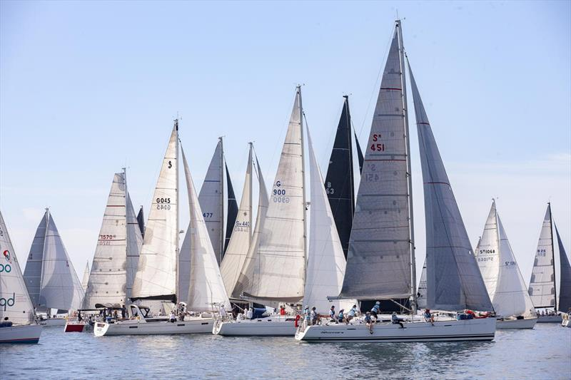 And they're off - Melbourne to Geelong Passage Race photo copyright Steb Fisher taken at Royal Geelong Yacht Club and featuring the IRC class