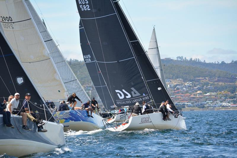 The Division One fleet hits the start line in Race 8 of the Combined Clubs Summer Pennant Series photo copyright Colleen Darcey taken at Derwent Sailing Squadron and featuring the IRC class