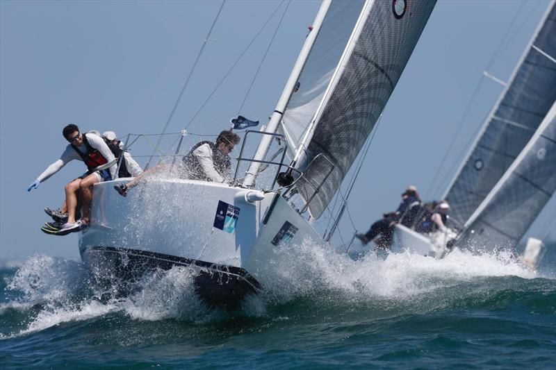 The J/105 class revel in the big chop on day 1 at Charleston Race Week - photo © Charleston Race Week / Tim Wilkes
