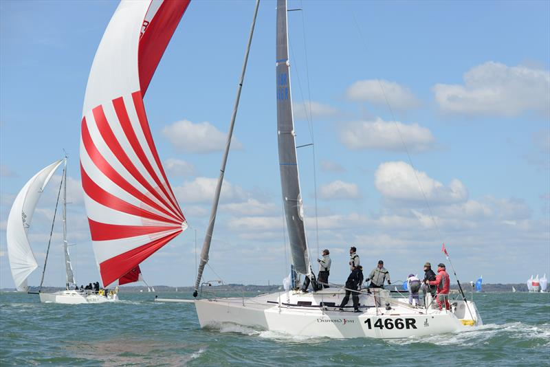 Diamond Jem chases Just So in the J109 class on weekend 2 of the Crewsaver Warsash Spring Championship - photo © Iain McLuckie