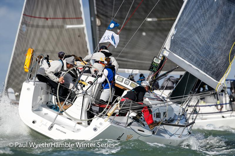 Jiraffe, J109 during the HYS Hamble Winter Series 2019 photo copyright Paul Wyeth / www.pwpictures.com taken at Hamble River Sailing Club and featuring the J109 class