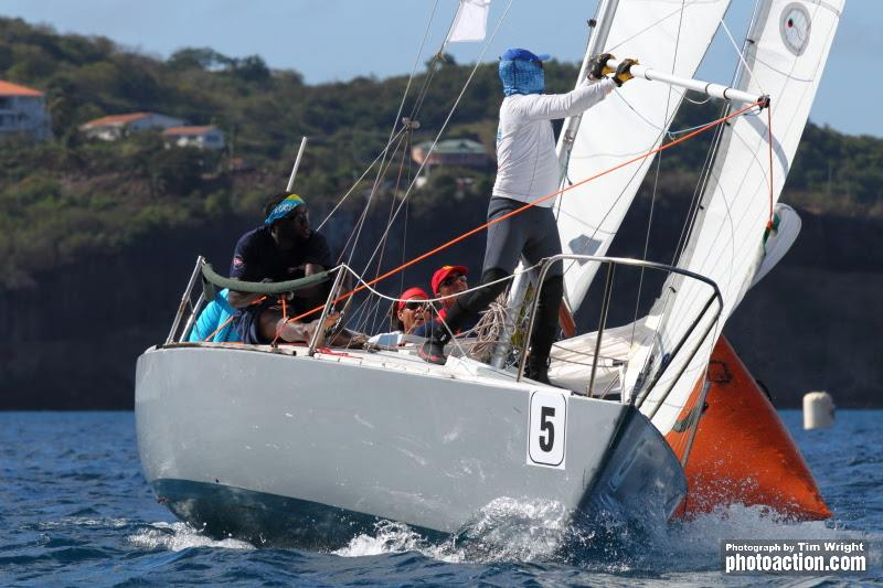 Hot racing in the J/24 Class - 2020 Grenada Sailing Week photo copyright Tim Wright taken at  and featuring the J/24 class