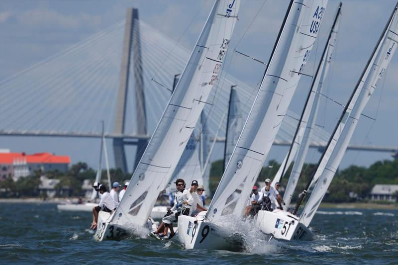 Oivind Lorentzen's J/70 Nine leads his fleet just south of the Ravenel Bridge on day 1 at Charleston Race Week - photo © Charleston Race Week / Tim Wilkes