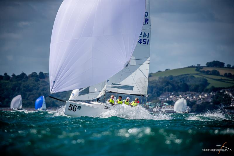 Paul Ward GBR Eat, Sleep, J, Repeat on day 3 of the Darwin Escapes 2019 J/70 Worlds at Torbay - photo © www.Sportography.tv