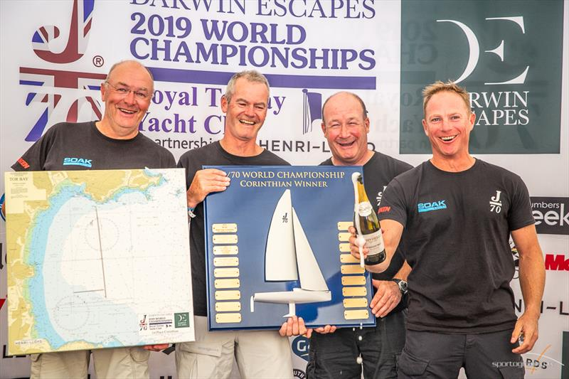 Soak Racing (IRL) Marshall King, Ian Wilson, Andrew Shorrock, Adam Brushett, Corinthian World Champions at the Darwin Escapes 2019 J/70 World Championships photo copyright www.Sportography.tv taken at Royal Torbay Yacht Club and featuring the J70 class