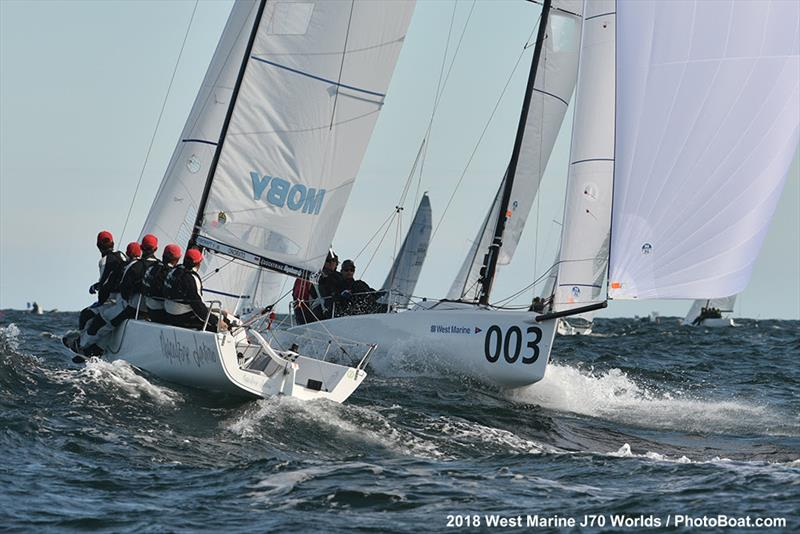 Gannon Troutman (USA) racing Pied Piper smoking downwind - 2018 West Marine J/70 World Championships - Day 3 - photo © 2018 West Marine J/70 Worlds / PhotoBoat.com