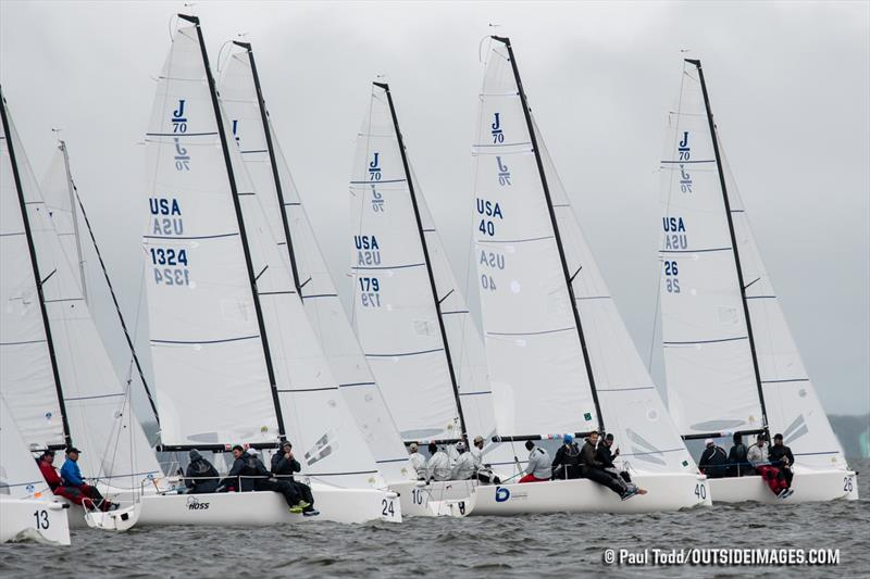 Bruce Golison, of Long Beach, California, leads the 30-boat J/70 fleet off a start on the final day of the 2019 Helly Hansen NOOD Regatta Annapolis. - photo © Paul Todd / Outside Images
