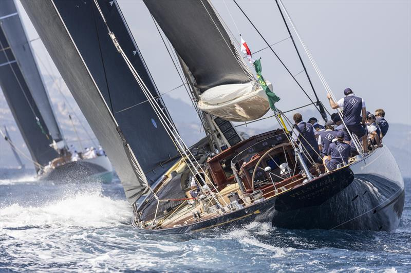 The J Velsheda trails the longer, faster Topaz on day 1 of the Maxi Yacht Rolex Cup - photo © Studio Borlenghi / International Maxi Association