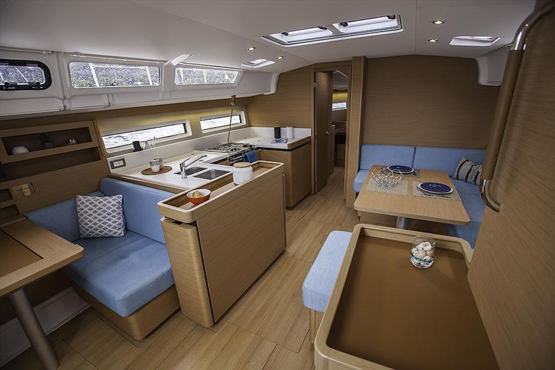Light, fresh, airy and carries the galley for'ard, as the nav desk can be turned into a fifth (bunk) cabin if you so spec it - Jeanneau Sun Odyssey 490 - photo © John Curnow