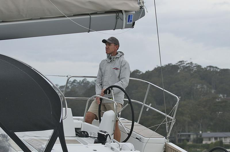 Lee Condell at the helm of the glorious Jeanneau Sun Odyssey 490 out on Pittwater. photo copyright John Curnow taken at Royal Prince Alfred Yacht Club and featuring the Jeanneau class