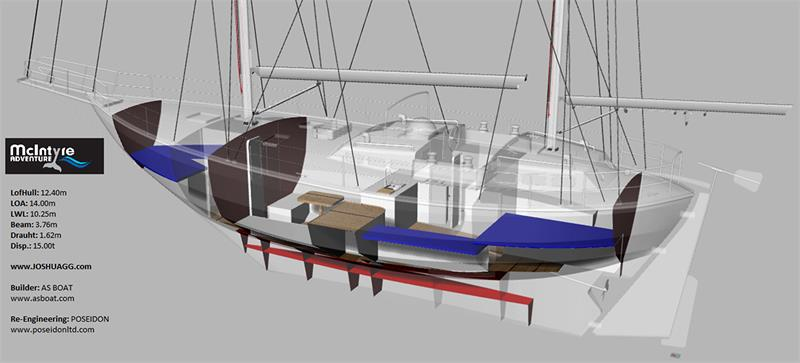 Cut-away showing interior plan of the Joshua replica yacht - photo © McIntyre Adventure