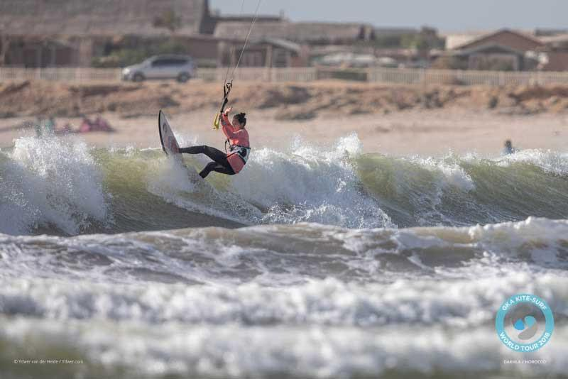 Moona hits the lip at the KSWT Dakhla 2018 - 2018 GKA Kite-Surf World Tour Torquay photo copyright Ydwer van der Heide taken at  and featuring the Kiteboarding class