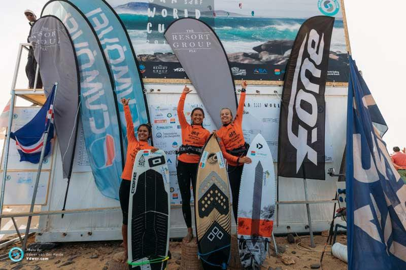 Women's podium - GKA Kite-Surf World Cup Cabo Verde, Day 2 photo copyright Ydwer van der Heide taken at  and featuring the Kiteboarding class