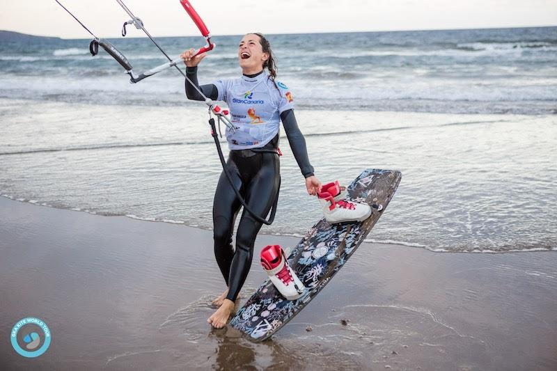 Rita reacts to the news that she'd gone through to the finals - GKA Gran Canaria Freestyle World Cup 2019 photo copyright Svetlana Romantsova taken at  and featuring the Kiteboarding class