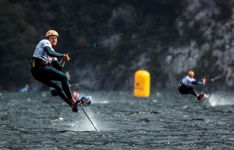 Connor Bainbridge (GBR) found better form today, and goes through to the finals in 1st. - Formula Kite Mixed Team Relay European Championships, Day 4 - photo © IKA / Alex Schwarz