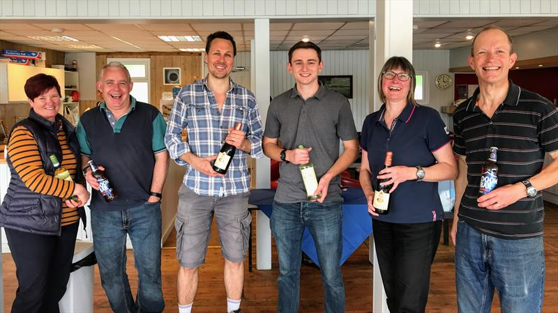 Prizwinners (l-r) the Castles (3rd), Chatten and Bailey (1st) and the Firths (2nd) at the Banbury Lark Open - photo © Banbury Sailing Club