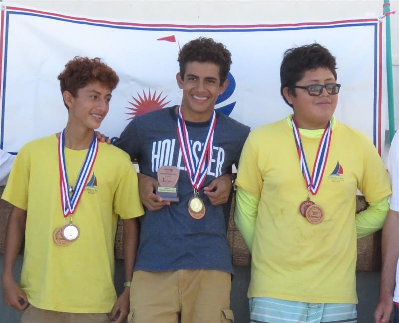 Laser winners (l-r) Darwin Velasquez, Trent Hardwick, Nigel Rosado in the Belize Sailing Association's (BzSA) National Championships photo copyright Belize Sailing Association taken at Belize Sailing Association and featuring the Laser class