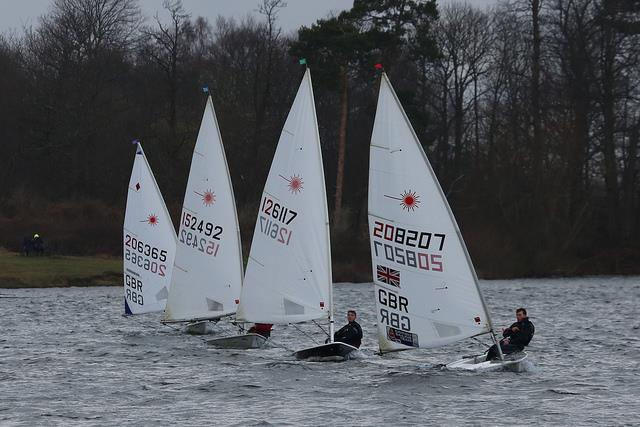 Close racing at the front of the Laser fleet on day 5 of the Alton Water Frostbite Series photo copyright Tim Bees taken at Alton Water Sports Centre and featuring the Laser class