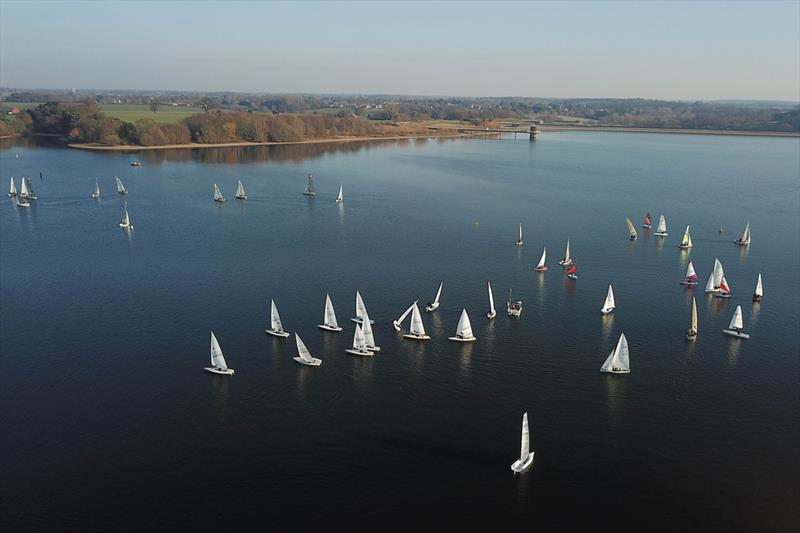 Laser start from above during Alton Water Fox's Chandlery Frostbite Series week 3 photo copyright Tim Bees taken at Alton Water Sports Centre and featuring the Laser class