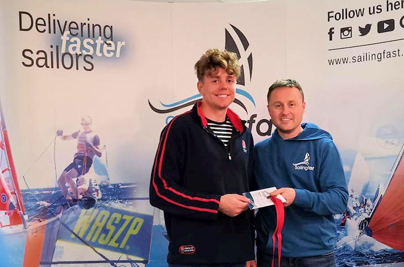 Jack Hopkins takes third in the Noble Marine Laser Standard Inland Championships at Grafham, with prize presented by Duncan Hepplewhite of Sailingfast - photo © Guy Noble
