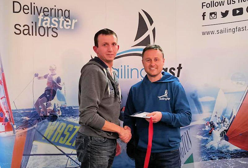 Joe Scurrah takes second in the Noble Marine Laser Standard Inland Championships at Grafham, with prize presented by Duncan Hepplewhite of Sailingfast - photo © Guy Noble