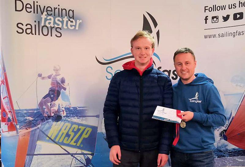 Paul Graham is first Under 19 in the Noble Marine Laser Standard Inland Championships at Grafham, with prize presented by Duncan Hepplewhite of Sailingfast - photo © Guy Noble