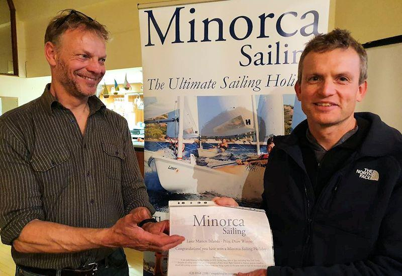 Neil Peters presents John Curran with the Minorca Sailing Prize during the Laser Masters Inland Championships - photo © Guy Noble