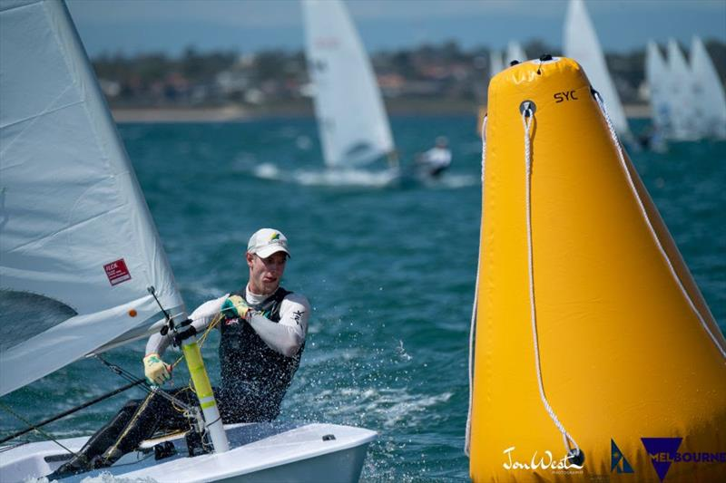 Australian Matt Wearn has kept himself in contention at the Laser Standard World Championship and is poised to strike in Gold Fleet. photo copyright Jon West Photography taken at Sandringham Yacht Club and featuring the Laser class