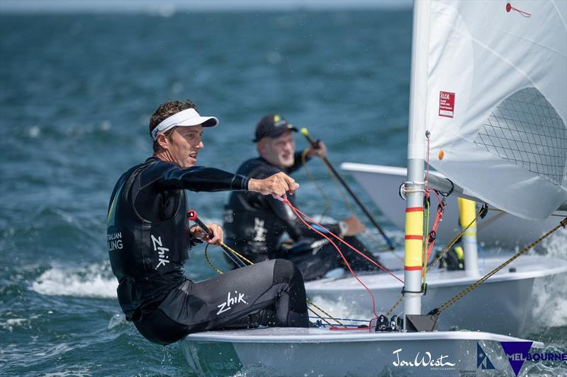 Luke Elliot Foreground - Finn Alexander Background - 2020 Laser Men's Standard World Championships - photo © Jon West Photography
