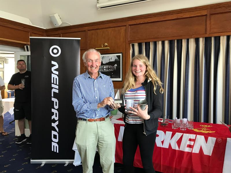 Commodore Dunlop Steward presenting to Matilda Nicholls, Overall winner 4.7, 1st girl and 1st Royal Lymington member in the Royal Lymington Yacht Club Youth Laser Open - photo © Christine Spreiter