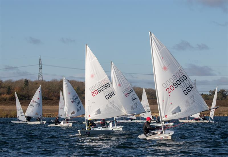 Finn Dickinson leading the 4.7 fleet during the Laser Inlands at Grafham Water - photo © Paul Williamson