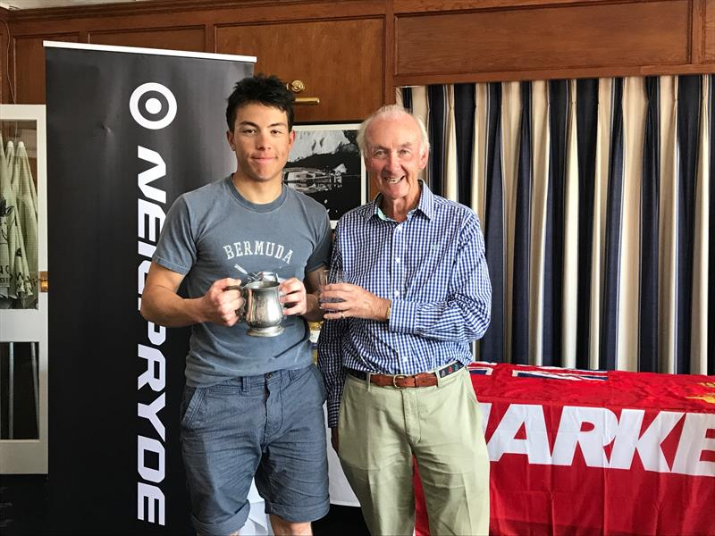 Commodore Dunlop Stewart presenting to Milo Gill-Taylor, Overall winner Radials, 1st boy and 1st Royal Lymington sailor in the Royal Lymington Yacht Club Youth Laser Open - photo © Christine Spreiter