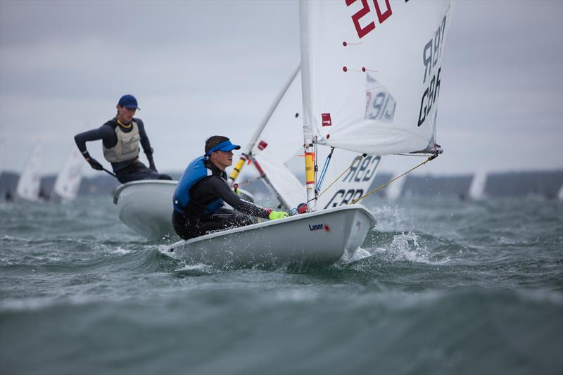Jake Bowhay heading into 3rd place overall in the Royal Lymington Yacht Club Youth Laser Open - photo © Christine Spreiter