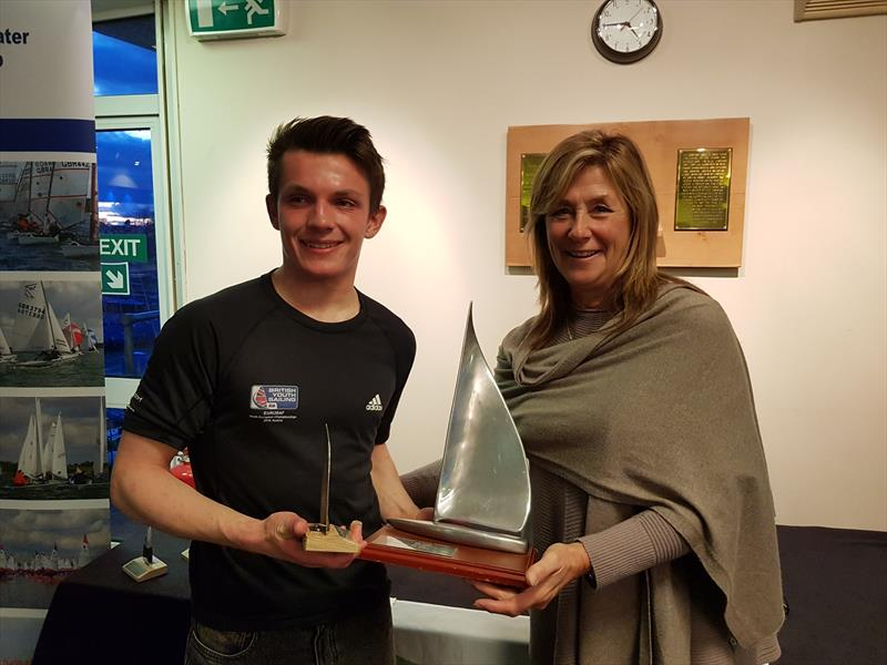 Ben Whaley being presented with the Radial Trophy during the Laser Inlands at Grafham Water - photo © Paul Williamson